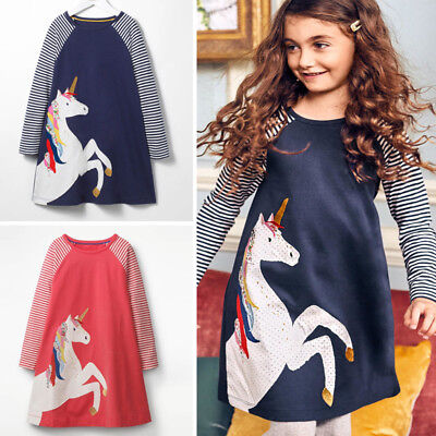 Unicorn Toddler Kids Baby Girl Princess Striped Long Sleeve Dress Casual Clothes