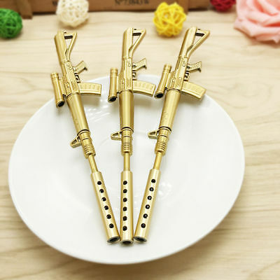 Rifle Shape Black Ink Ballpoint Pen Stationery Office Ball Point Novelty Gold