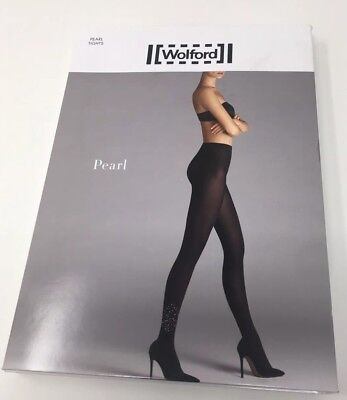 S M L £260 SOLD OUT!!! WOLFORD Black Limited Edition 1 Tights with Studs XS
