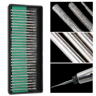 30x1/8in Diamond Burr Drill Bits For Engraving Carving Dremel Rotary Tiles Glass