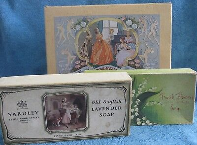 3 vintage 1950s BATH SOAP BOXES Levers COMFORT, YARDLEY Lavender, FRENCH FLOWERS