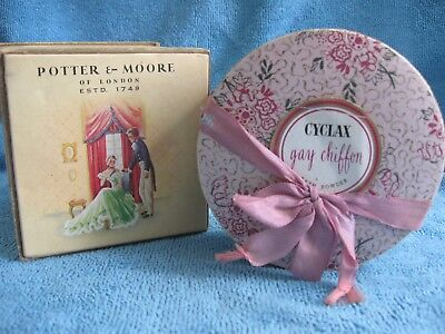 2 vintage 1950s POWDER BOXES Potter & Moore Lavender, Cyclax GAY CHIFFON