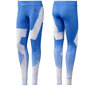 Reebok Crossfit Long Tight Damen Leggings Sport Fitness Laufhose Hose Pants Blau Women's Clothing