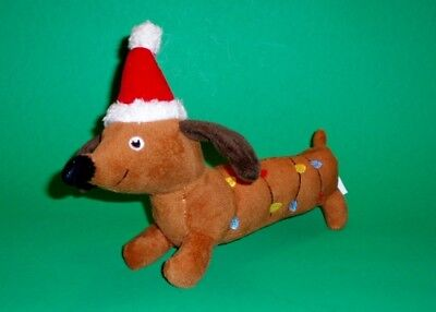Christmas Holiday Dachshund Wrapped in Lights Dog Toy with Squeakers