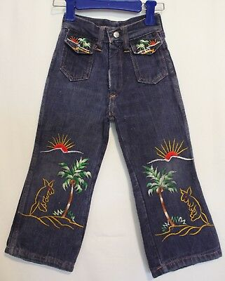 VINTAGE 1970s ~ Jo Toggs Girls Denim Embroidered Palm Trees Flares Jeans 2 3