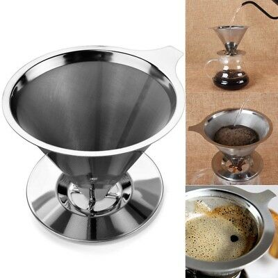 Stainless Steel Pour Over Cone Dripper Reusable Coffee Filter with Cup Stand Tip
