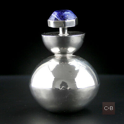 Vintage Large Mexican Modernist Perfume Bottle Sterling Silver Sodalite UNUSED