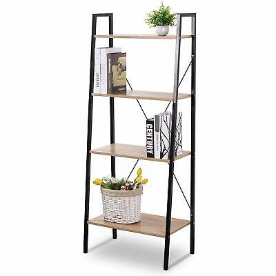 Black Ladder Shelving Unit 4 Tier Display Stand Book Shelf Wall Rack Cupboard