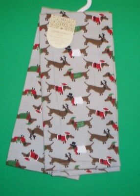 Set of 2 Dachshund Christmas Kitchen / Tea Towels by Cynthia Rowley