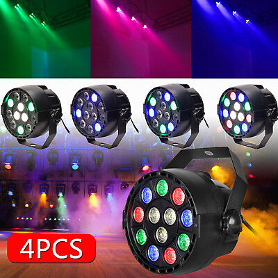 4PCS Laser RGB 12 LED Stage Light Projector Disco Party DJ Lighting Strobe Lamp