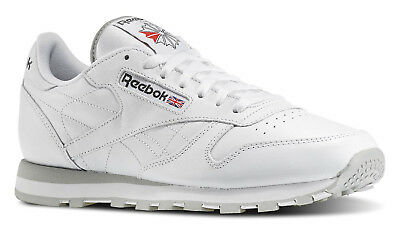 Reebok Classic Leather White Light Grey Mens Running Tennis Shoes Item 101