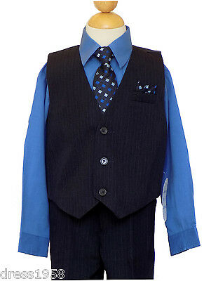 Boy Recital, Wedding, Suit Vest Suit Set,Victoria Blue/Black,Size: 4,5, 6,7,8