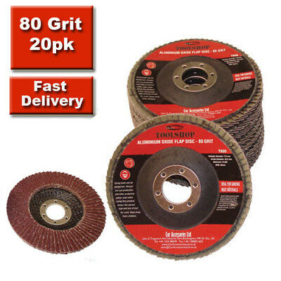 "20 x 80 Grit FLAP DISCS 115mm 4.5"" SANDING GRIT GRINDING WHEELS 20 Pack"