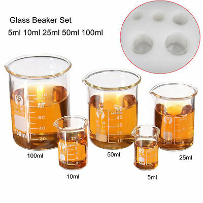 5pcs/Set Clear Glass Beaker Chemistry Laboratory Borosilicate Measuring Cylinder