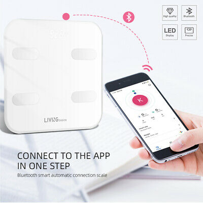 Bluetooth Body Fat Weight Scale 396 lbs Electronic LCD Fitness Analyzer APP