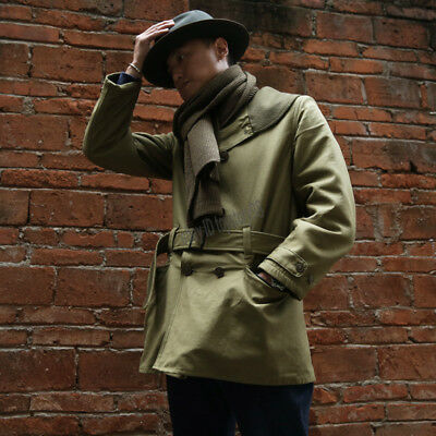 BRONSON Men's World War II MACKINAW Coat Long Winter Vintage Army Green Jackets