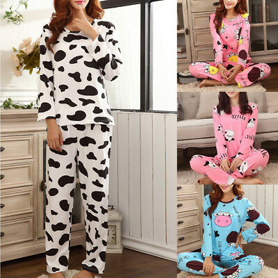Women Long Sleeve Cartoon Dairy Cattle Print Pajamas With Pockets Sleepwear Set