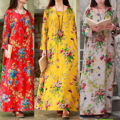 AU Women Long Maxi Boho Floral Sundress Long Sleeve Kaftan Linen Plus Size Dress