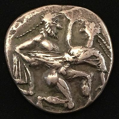 Ancient THASOS ISLAND off THRACE Archaic 525BC Satyr Nymph Silver Greek Coin