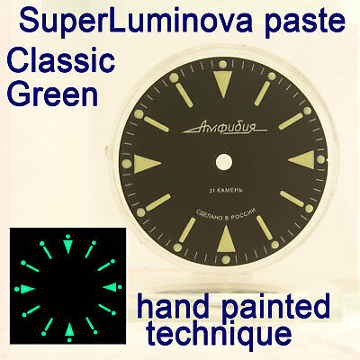 Watches-Parts: Hand Painted Superlumia  512 Dial Vostok Amphibia 3 Kinds Of Lume