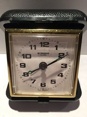 Vintage West German Blessing Black Travel Alarm Clock (Not Working)