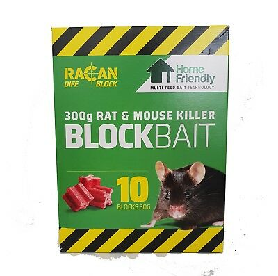 Racan Dife Block Rat and Mouse poison bait Killer  300g 10x30g