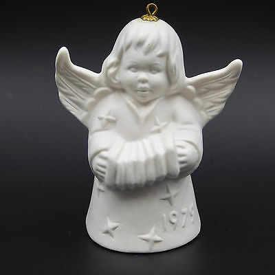 Goebel Angel Christmas Bell Ornament Playing Accordion White Bisque 1979 Vintage