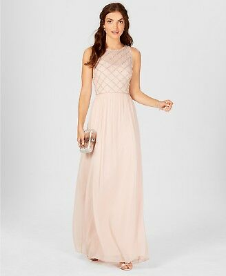 $395 Adrianna Papell Womens Pink Beaded Embellished A-Line Gown Dress Size 14