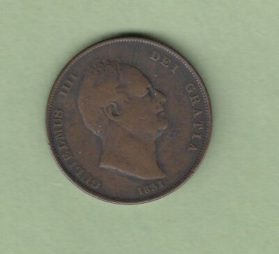 1831 Great Britain One Penny Coin - William IV - Fine