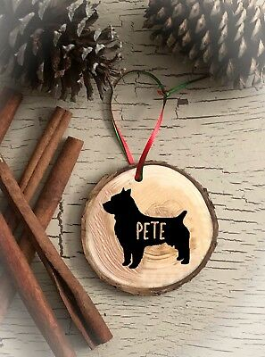 Australian Terrier Personalized Dog Christmas Ornament Rustic Wood  Gift