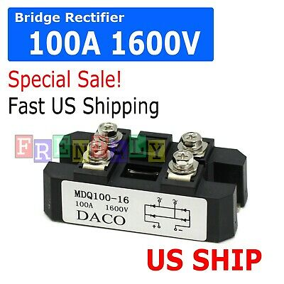 4 Terminals Single-Phase Diode Bridge Rectifier 100A Amp High Power 1600V  US