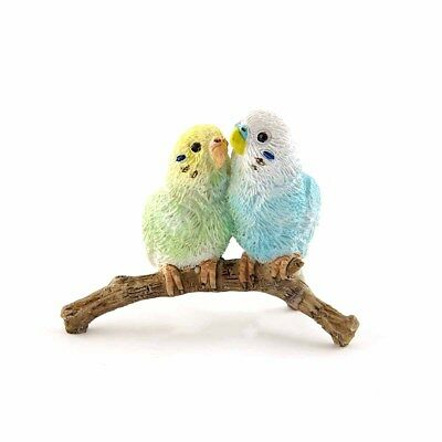 2 Mini Budgie Parakeets(4626) Fairy Garden Terrarium Miniature 2 Inches NEW