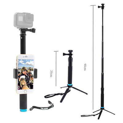 Waterproof Monopods Extendable Tripod Selfie Stick Pole For Gopro Hero 3 4 5 6