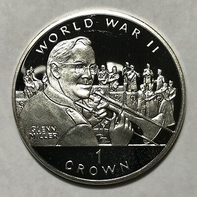 1994 CROWN - GIBRALTAR - GLEN MILLER AND BAND WWII - PROOF - SILVER - Lot#A593
