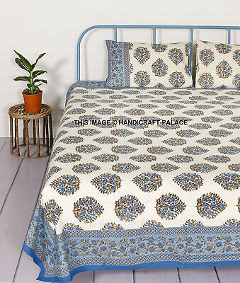 Floral Printed Fitted Sheet Queen Cotton Bed Coverlet Sheet Cover PillowCase Set