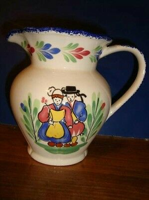 """Vintage FRENCH FAIENCE 5.75"""" HAND MADE PITCHER JUG ~ FRANCE ~ SIGNED RED BLUE YG"""