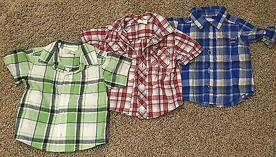 Lot of 3 Boys Size 12-18 Old Navy Long Short Sleeve Polo Collar Button Up Shirts