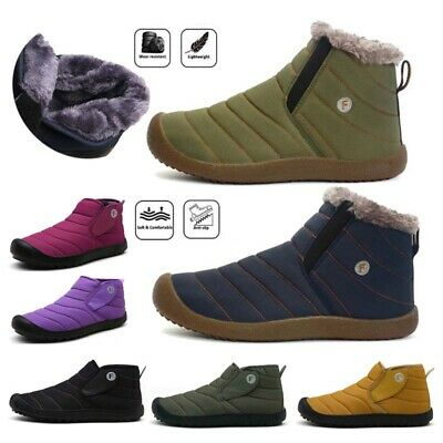 Womens Mens Snow Boots Winter Ankle Booties Anti-Slip Fur Lined Slipper Size