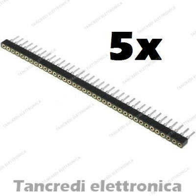 5x Connettori strip line 40 pin poli Femmina separabile 2.54mm circuito stampato