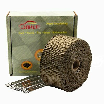"""LEDAUT 2""""x 50' Titanium Exhaust Header Wrap for Motorcycle Exhaust Tape With Sta"""