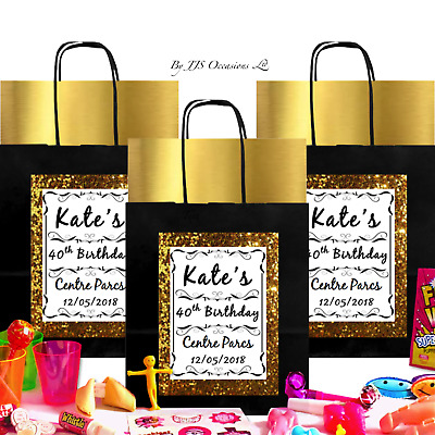 ADULT BIRTHDAY PARTY BAG Empty or with Fillers Metallic Gold Silver or Copper