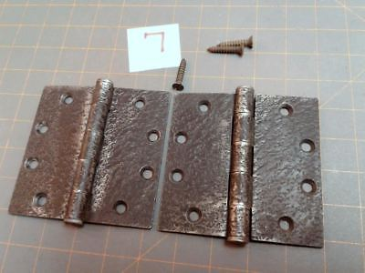 Pair Butt Hinges Acorn  Faux Hammered Iron Finish No. 7 Warwick Style Vintage