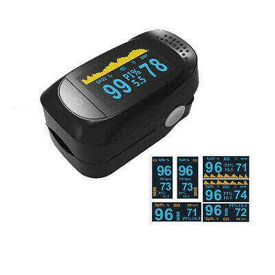 Fingertip Pulse Oximeter Blood Oxygen  Monitor SpO2 PR PI Sleep Monitoring Black