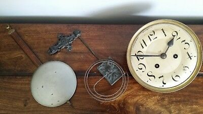 1920's Wall Clock Mechanism with Original Pendulum and Cast Iron Chiming Bars