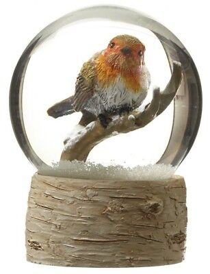 Large Traditional Christmas Snow Globe with Robin on a Branch Heaven Sends