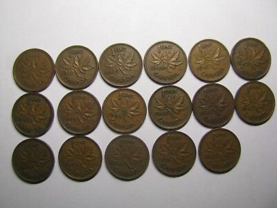 Canada 1937-1952 set George VI 1 Cent 17 Coins Canadian Pennies