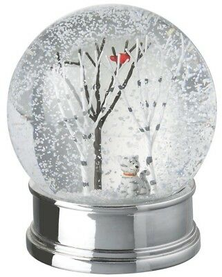Large Traditional Christmas Snow Globe with Cat and Robin Heaven Sends