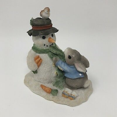 My Blushing Bunnies Christmas Figurine Snowman Bunny Enesco Collectible *****
