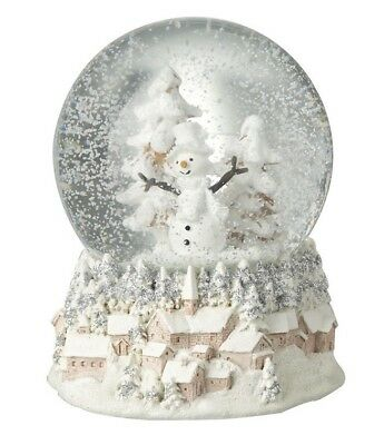 Large Traditional Christmas Snow Globe with Snowman on Decorative Village Base