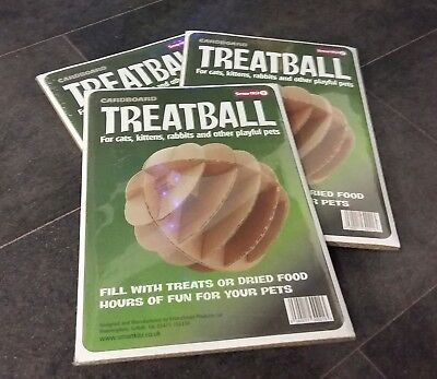 3x Cardboard Treatball for Cats, Kittens, Rabbits ~ Small Pet Treat Dispenser
